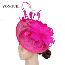 Rosa quente millinery fascinator chapéu elegante feminino pena flor acessórios para o cabelo cocktail casamento igreja headpiece presente do ano novo