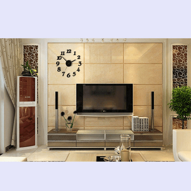 Free shipping 3D Best Home Decoration DIY Wall Clock Unique Large number Stickers Self Adhesive home Decor Modern Wall Clocks