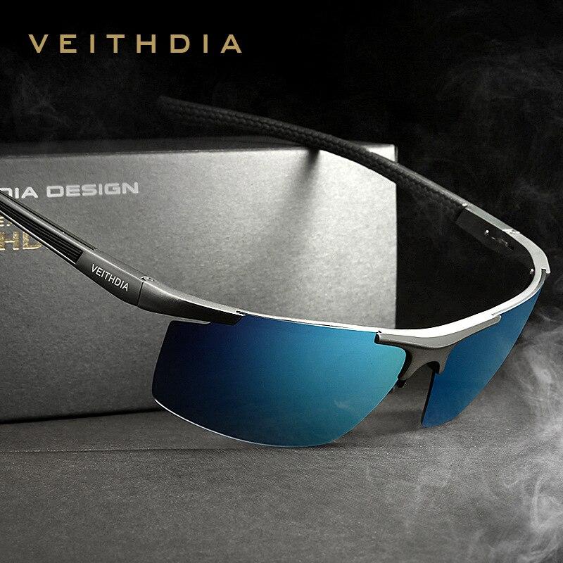 VEITHDIA Aluminium Magnésium Polarisées S Hommes Revêtement Miroir Conduite Lunettes De Soleil Mâle Lunettes Accessoires Oculos