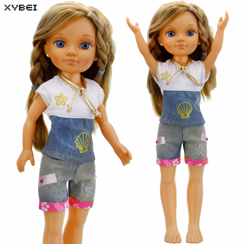 Handmade Outfit Daily Casual Wear Short Sleeves Shirt Jeans Trousers Clothes For Sharon Doll 16 Puppet Accessories Kids Gift 30 new styles festival gifts top trousers lifestyle suit casual clothes trousers for barbie doll 1 6 bbi00636