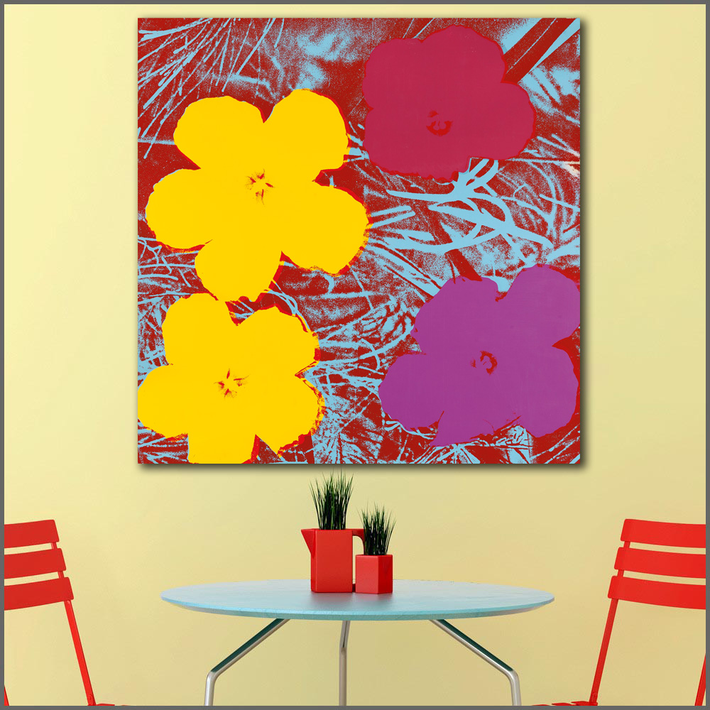 Large size Printing Oil FLOWERS by Andy Warhol colorful 4 wall art ...