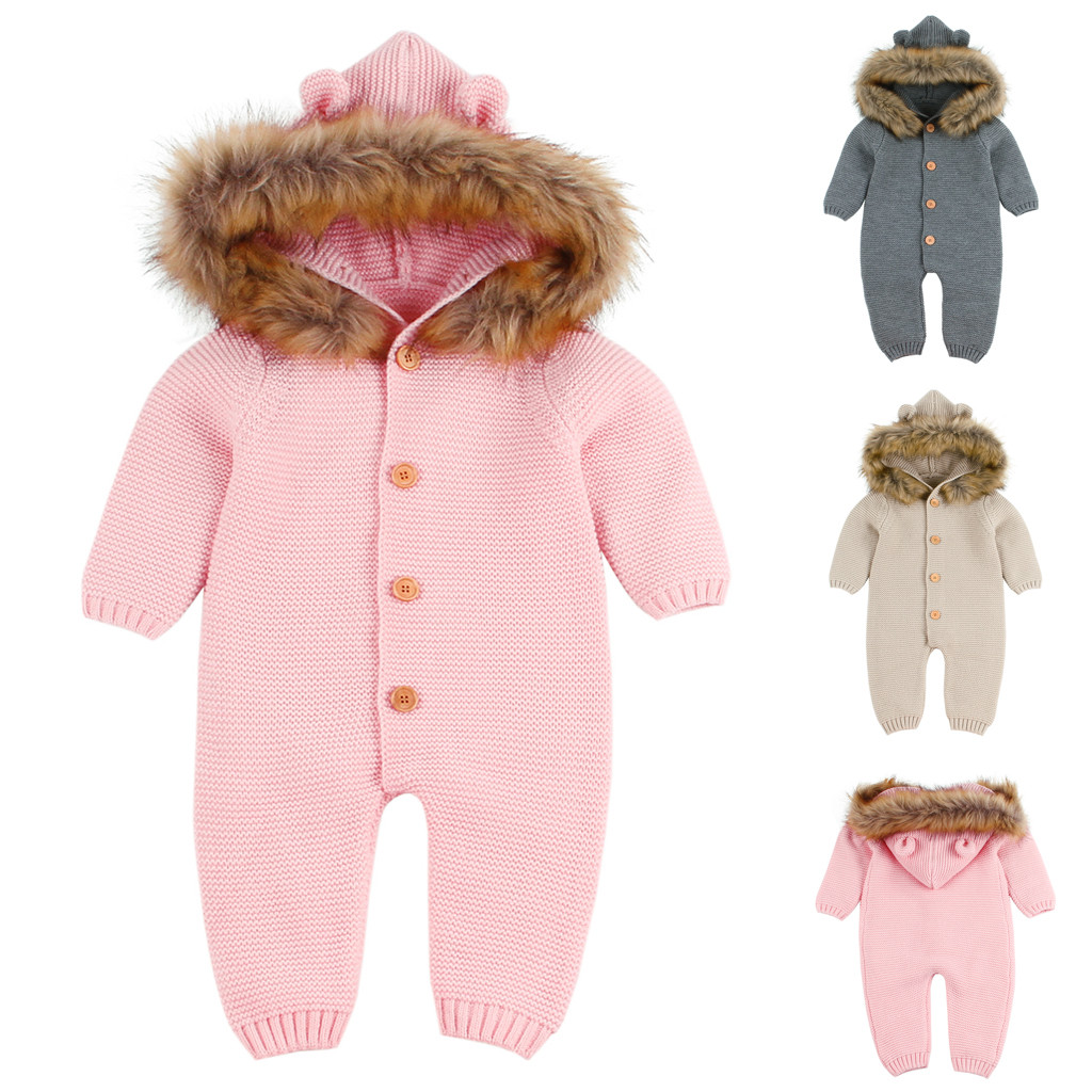Infant Newborn Baby Boy Girl Knit Romper Hooded Jumpsuit Winter Clothes Outfits