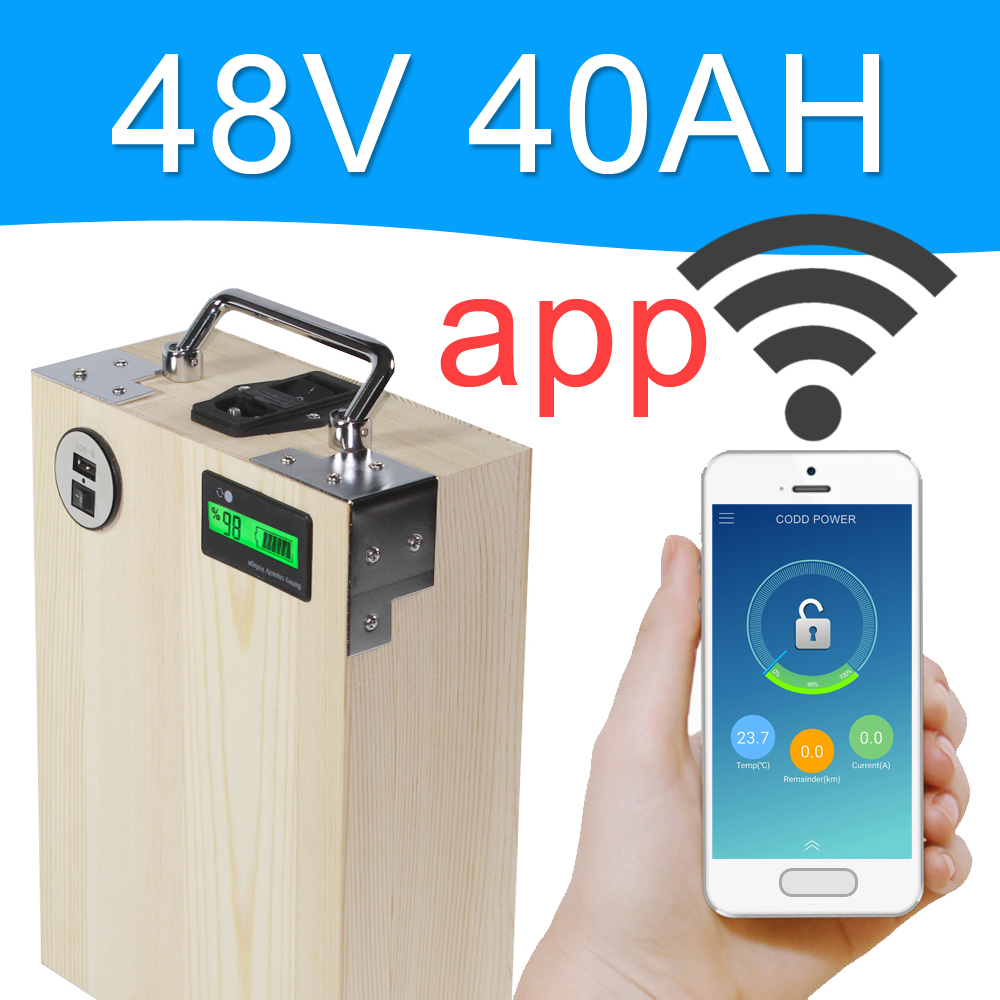 APP 48V 40AH Electric bike LiFePO4 Battery Pack Phone control Electric bicycle Scooter ebike Power 2000W Wood