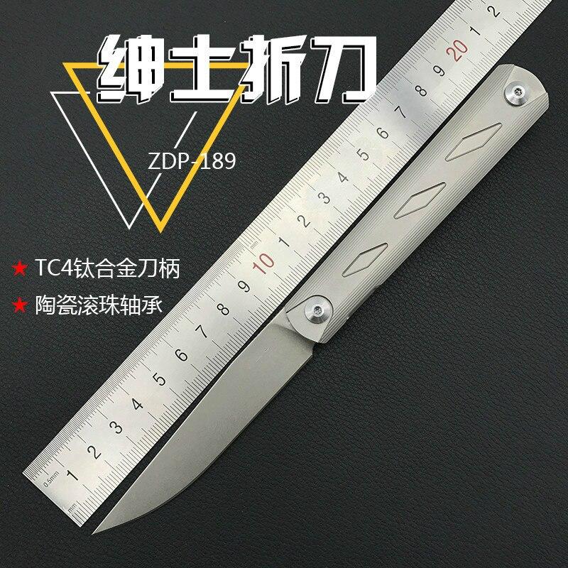 ZDP-189 lama di coltello pieghevole cuscinetto a sfere rondella Bronzato TC4 maniglia di caccia esterna della lama di EDC strumentoZDP-189 lama di coltello pieghevole cuscinetto a sfere rondella Bronzato TC4 maniglia di caccia esterna della lama di EDC strumento