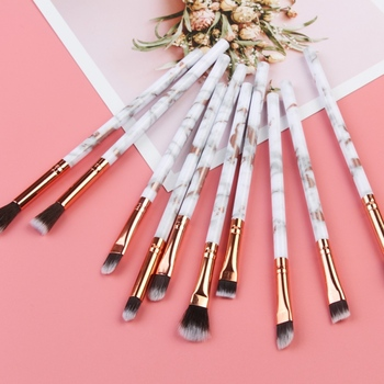 Marble EyeMakeup Brushes Set Eyeshadow Eyeliner Eyebrow Makeup Brush Tools Kit 10pcs