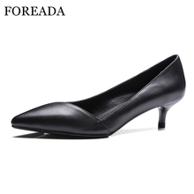 FOREADA Genuine Leather Shoes Women Pumps Mid Heel Office Lady Shoes Pointed Toe Heels Real Leather Spring Autumn Footwear 40 41