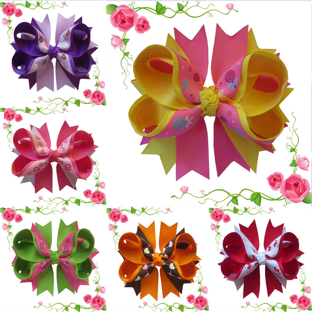 45Inch20Pcs Children Hair Bows Double Stacked Grosgrain Ribbon Hair Clips Boutique -9449