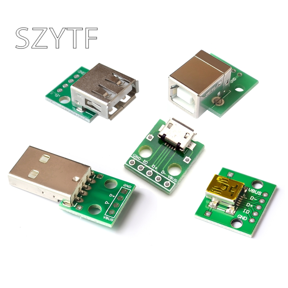 10pcs MICRO MINI5P USB To Dip Female B-type Square Interface Printer Mike 5p Patch To Inline Adapter Board