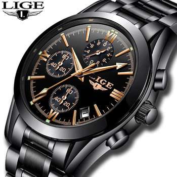 LIGE Mens Watches Top Brand Luxury Quartz Clock Male Stainless Steel Chronograph Military Sport WristWatch Men Relogio Masculino