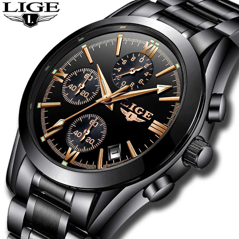 <font><b>LIGE</b></font> Mens Watches Top Brand Luxury Quartz Clock Male Stainless Steel Chronograph Military Sport WristWatch Men Relogio Masculino image