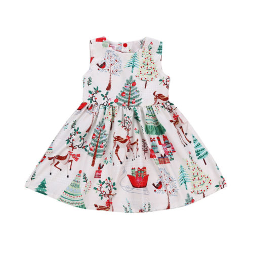 Toddler Kid Baby Girl Christmas Sleeveless Cartoon Deer Sleeveless Party Dress Clothes 2-6y