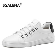 Men Non-Slip Soft Leather Casual Shoes Fashion White Round Toe Lace Up Flat Shoes Male High Quality Shoes AA11553