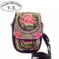 Китайский Старинные Вышивки Мешок Национальная Этническая Вышитые брезентовый чехол плеча сумки небольшой монеты Телефон мешки