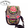 Chinese Vintage Embroidery Bag National Ethnic Embroidered canvas cover shoulder messenger bags small coins Phone bags