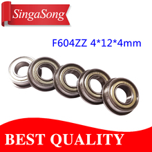 10pcs Flange Ball Bearings F604ZZ F604 2Z F604 ZZ 3D Printers Parts Deep Groove Pulley Wheel Aluminium Part