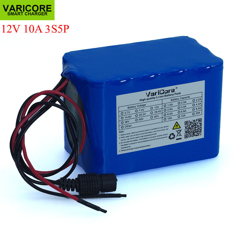 VariCore 100% New Protection Large capacity 12 V 10Ah 18650 lithium Rechargeable battery pack 12v 10000 mAh capacity with BMSVariCore 100% New Protection Large capacity 12 V 10Ah 18650 lithium Rechargeable battery pack 12v 10000 mAh capacity with BMS