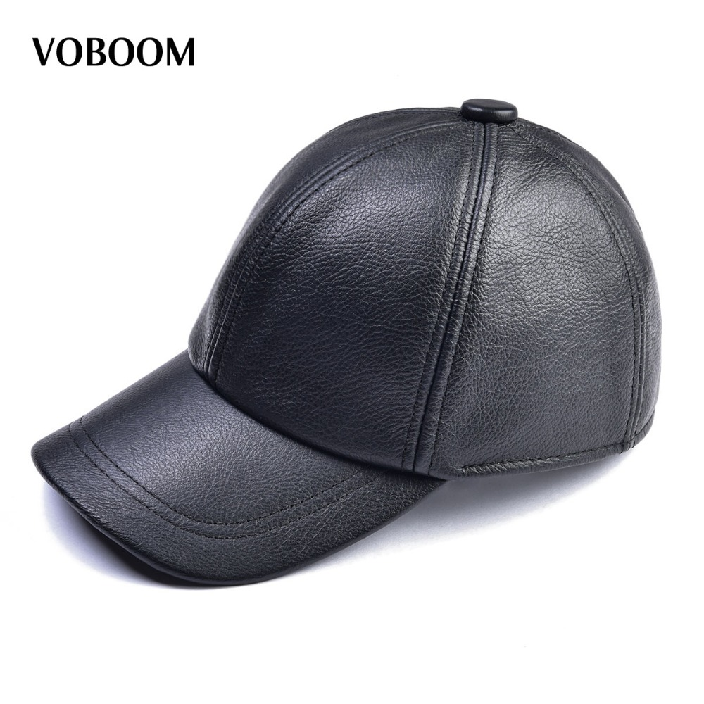 VOBOOM Genuine Leather Baseball Cap For Man Male Winter Classic Thermal Brand New Black/Brown Gorras Dad Fashion MY009 fashion sheepskin cadet for man genuine leather mens baret cowhide flat cap cabby hat vintage newsboy ivy driving cap