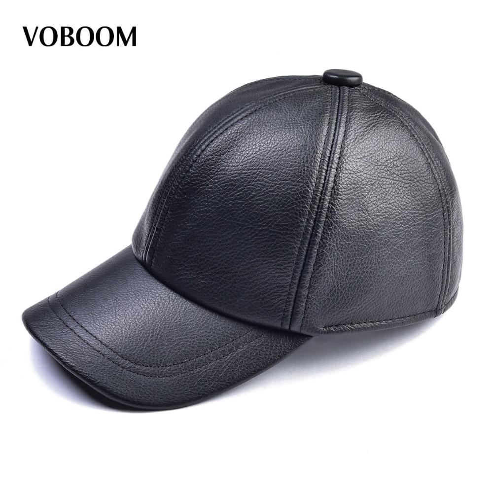 Voboom Cuero auténtico béisbol para hombre invierno térmica clásica Nuevo  Negro marrón gorras papá moda my009 en Gorras de béisbol de Deportes y ocio  en ... c511671789c
