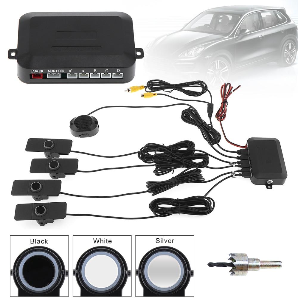 Parking Sensors Car Reverse Backup Radar System Assistance Original Flat Sensors with Wings Black