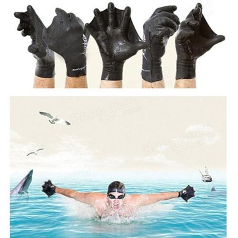 Swimming Webbed Diving Training Hand Flippers Swim Finger Frog Webbed Gloves Paddle Good Elasticity Durable High Quality