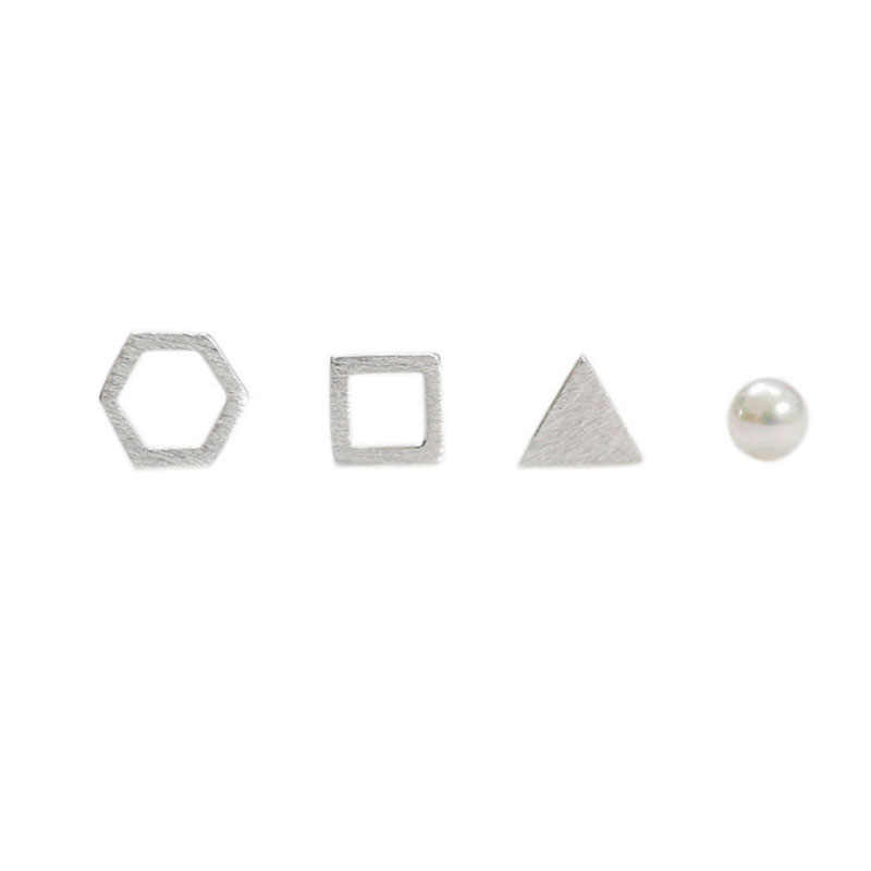 Small Hollow Square Triangle Hexagon Pearl 925 Sterling Silver for Women Earrings 4 pcs/set