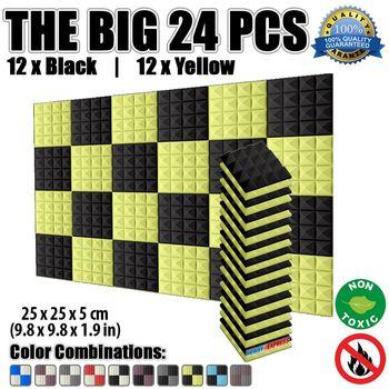Arrowzoom Pyramid Acoustic Studio Foam Tile Panel 25 x 25 x 5 cm (9.8 x 9.8 x 1.9 in) 24 pcs Bundle 5 Color Combinations KK1034