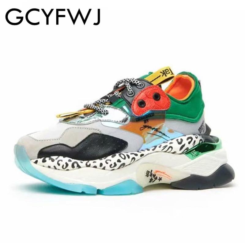 GCYFWJ Платформа Кроссовки Многоцветный Папа Обувь Leopard Женская Мода Женщины Новые Лоскутные кроссовки