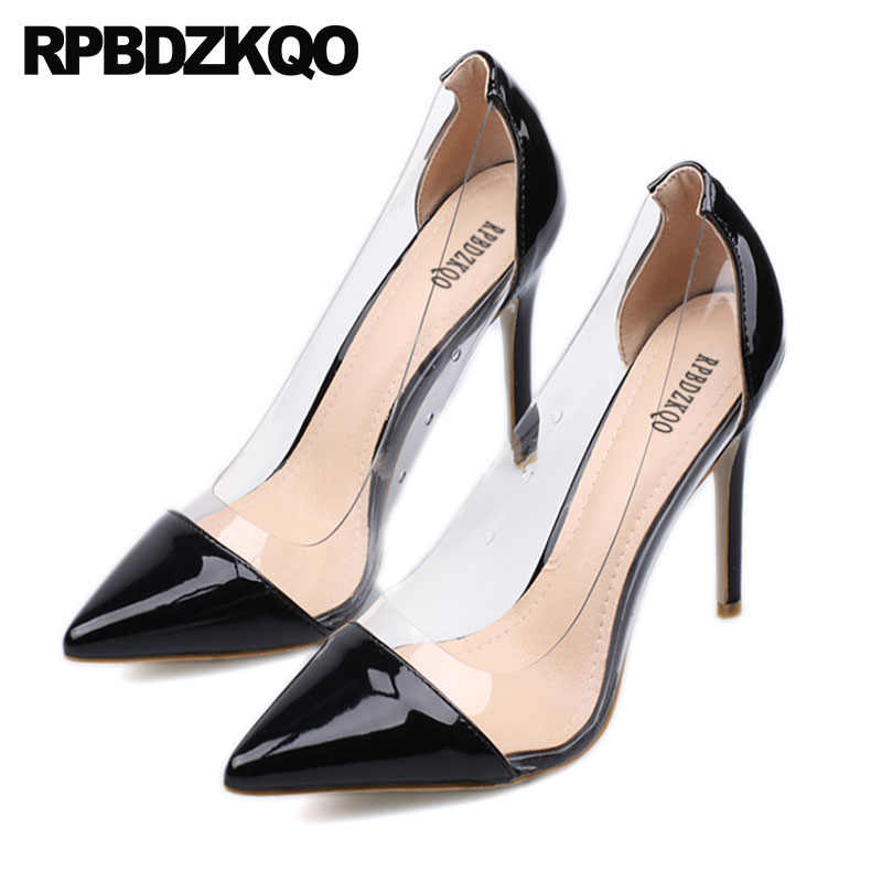 879a494db77 clear patent leather stiletto transparent sexy white high heels black nude  fashion shoes 2018 pvc pumps