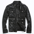 2015 The New fashion Collar pocket Motorcycle clothing Sheepskin leather Slim Men's leather jackets CMX 403