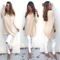 Autumn Winter Women Ladies V Neck Chunky Knitted Oversized Baggy Sweater Jumper Tops Outwear