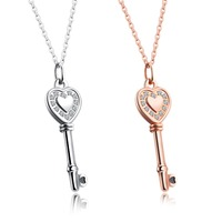 Fate Love Luxury Inlaid CZ Key Pendant Necklace Women Rose Gold Silver Color Extended Chain Female