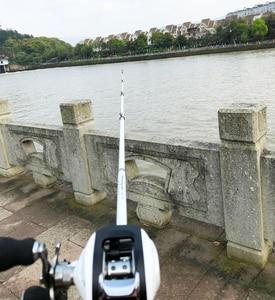 Image 5 - 1.8 2.4m short carbon ultralight bait casting fishing rod combo 17+1BB 6.3:1 left right reel  lure boat rock stick pesca pole