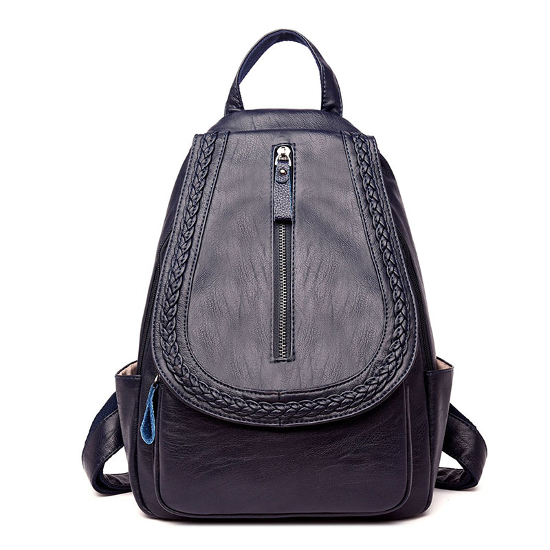 Women Backpack PU Leather Backpacks Female Feminine Casual Large Capacity Vintage Weaving Shoulder Bags