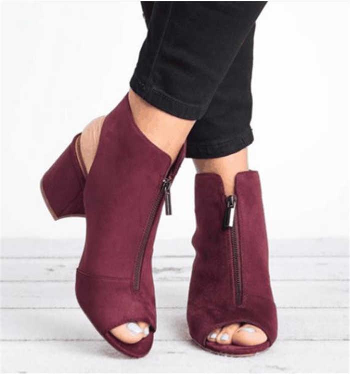 Yeni yarım çizmeler Faux Süet Deri Rahat Açık Peep Toe Yüksek Topuklu Fermuar Moda kare kauçuk Için siyah ayakkabı Kadın Boyutu 34- 43