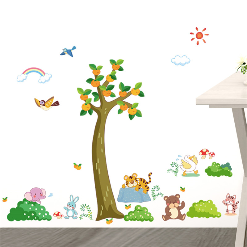 Forest Tree Animals Tiger Bear Rabbit Wall Stickers For Kids Rooms Living  Room Bedroom Nursery Room