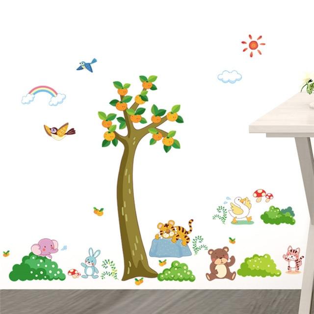 Us 2 47 8 Off Jungle Wilden Wald Baum Tiere Tiger Bär Wandaufkleber Für Kinderzimmer Schlafzimmer Kinderzimmer Dekor Wandtattoo Wand Poster In