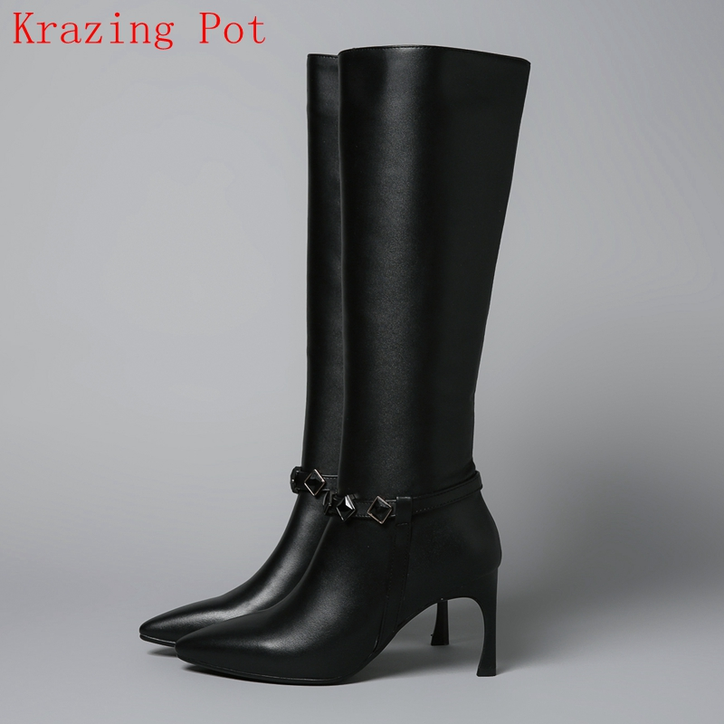 Krazing Pot new arrival superstar genuine leather high heel pointed toe zipper winter boots elegant runway Knee-High boots L07