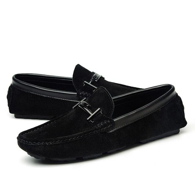 สีดำยี่ห้อ Mens Casual Loafers หนังนิ่มหนังผู้ชายรองเท้าบนรองเท้าสำหรับรองเท้าผู้ชายรองเท้าแตะ Chaussure homme 38-44