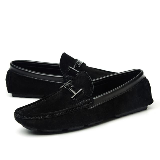 16d037520 Negro para hombre de la marca mocasines casuales de cuero de gamuza de los hombres  zapatos