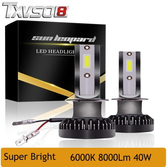 TXVSO8 2PCS LED H7 H1 mini Car headlight Bulbs With COB Chip car LED light Lamps H11 Kit 6000K Headlamp Auto 12V 40W 8000Lm lamp