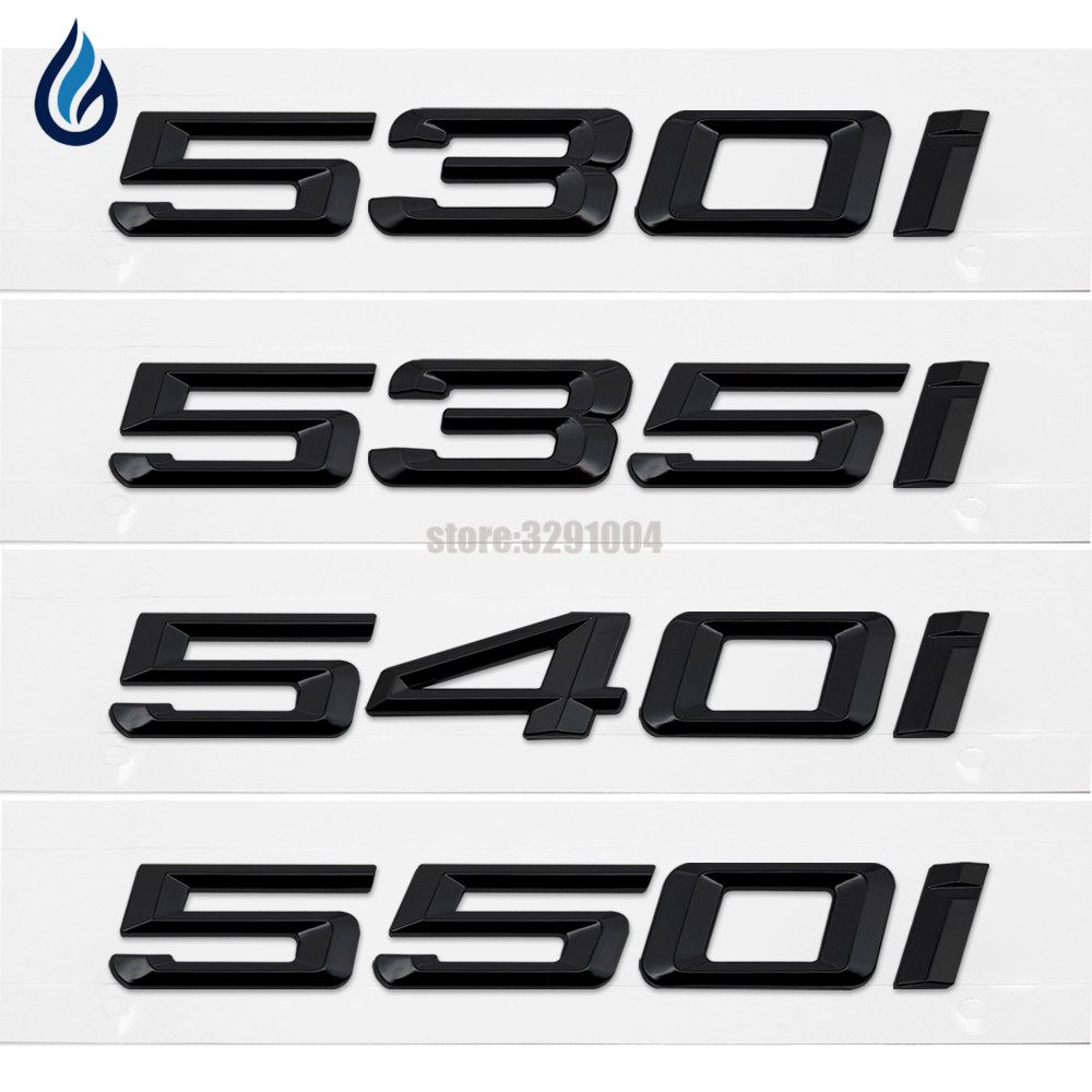 530i 535i 540i 550i Trunk Lid Rear Emblems Badge Black Letters For BMW 5 Series  F10 F11 F07 E12 E28 E34 E39 E60 E61 convenient tpe pom lid for cola black