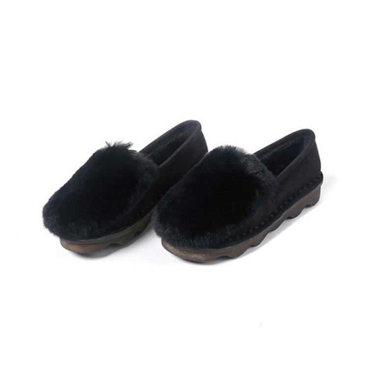 Fourrure Kaki black Rond Chaussures Appartements Bout 2018 Femmes Mljuese Cheveux Couleur Khaki Kid Lapin Confortable Suede Printemps hrsQtdxC