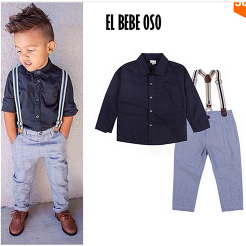 EL BEBE OSO Baby Boys Gentleman Formal Suits Little Kids Boy T-shirt+Suspender Trousers Overall Outfits Autumn Clothing Set цена 2017