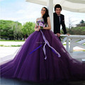 Bling Purple Wedding Dresses Turkey 2017 Vestido de noiva Strapless Beaded Crystals Bridal Gowns Plus Size With Detachable Bow