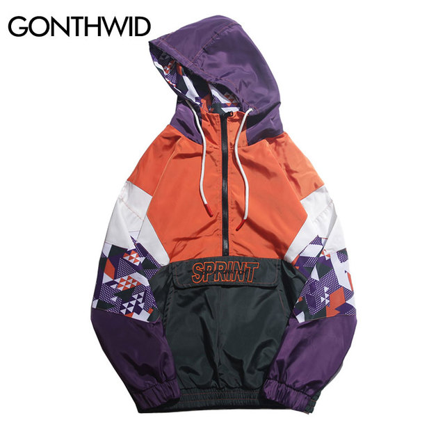 f4655d99649 GONTHWID Hip Hop Color Block Patchwork Embroidery Half Zip Hooded Jackets  2018 Autumn Men Casual Pullover Hoodie Coat Streetwear
