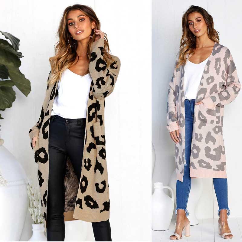 Harajuku X Long Cardigan Ladies Autumn Long Knitted Leopard Sweater Women Large Outwear Coats Oversized Female Clothing ONA10032 cardigan