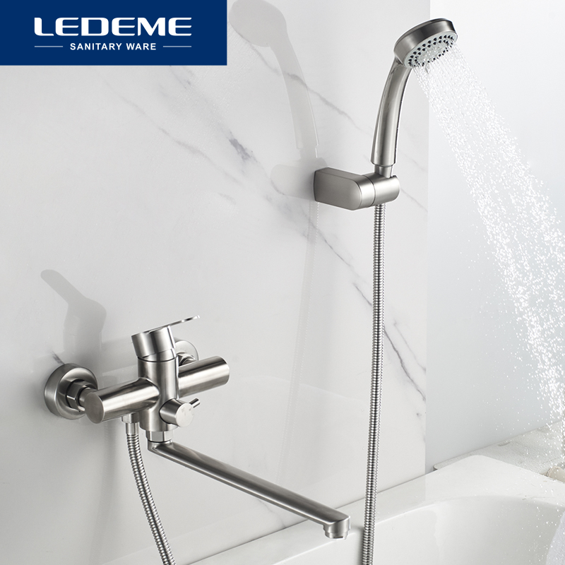 LEDEME Bath Shower Faucets Set Bathtub Faucet Water Mixer Crane Tap With Hand Shower Stainless Steel Bathroom Faucets L72203