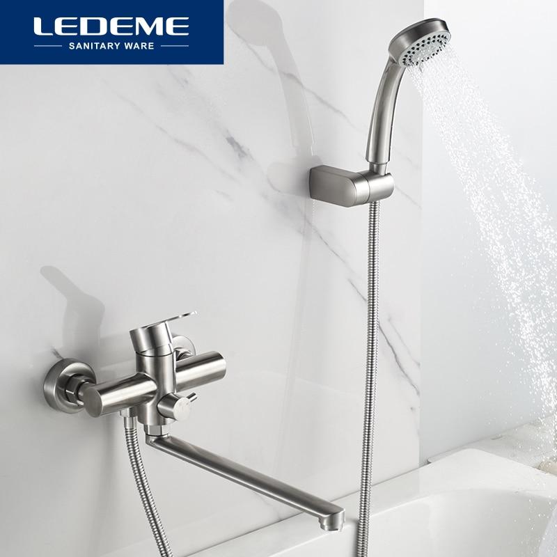 LEDEME Bath Shower Faucets Set Bathtub Faucet Water Mixer Crane Tap With Hand Shower Stainless Steel Bathroom Faucets L72203