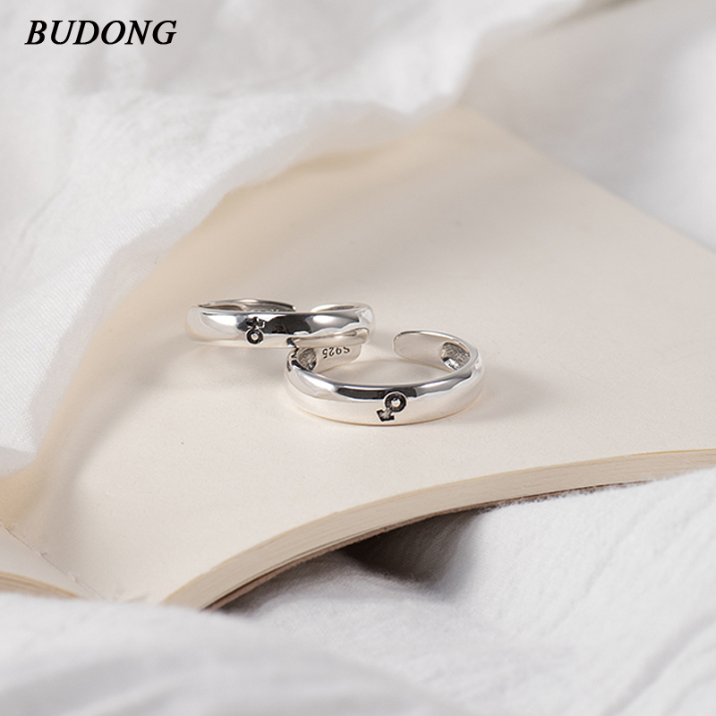BUDONG Jewelry Ring Couples' Christmas-Gift Wedding-Engagement Infinity 925-Sterling-Silver