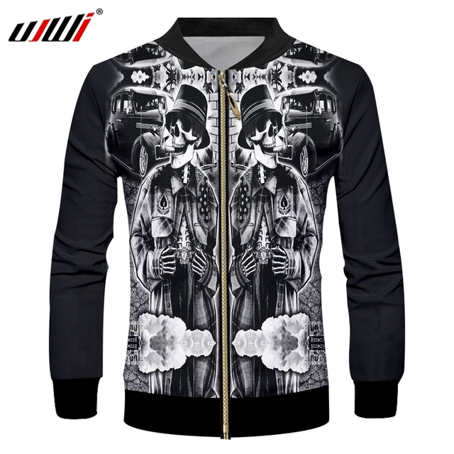 f1501a1787a4 UJWI New Fashion Mens Casual Jackets Hiphop Streetwear Outcoat Cool Print  Smoking Skull 3d Jacket Coat Male Long Sleeve Outwears